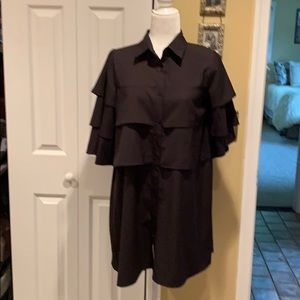 NWOT Black BOOHOO Shirt Dress with Ruffles